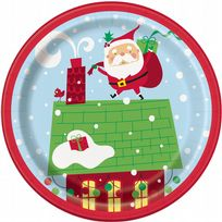 "Colourful Santa 7"" Paper Plates (8)"